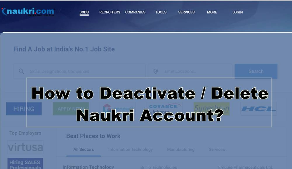 deactivate or delete naukri account