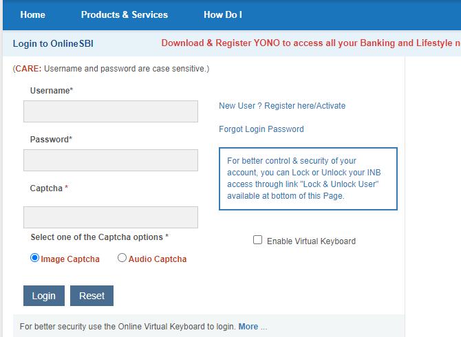 login to SBI net banking