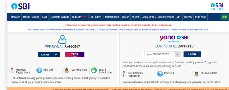 sbi official net banking website